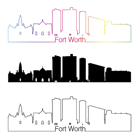 worth: Fort Worth skyline linear style with rainbow in editable vector file