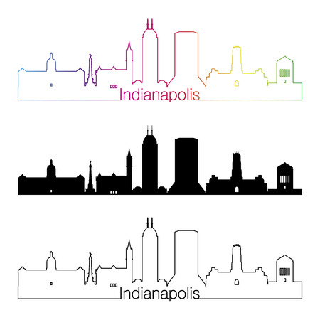 indianapolis: Indianapolis skyline linear style with rainbow in editable vector file