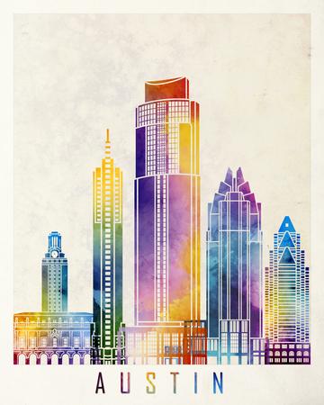 Austin landmarks watercolor poster Stock Photo