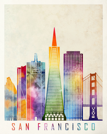 francisco: San Francisco landmarks watercolor poster Stock Photo