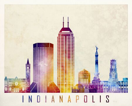 Indianapolis landmarks watercolor poster