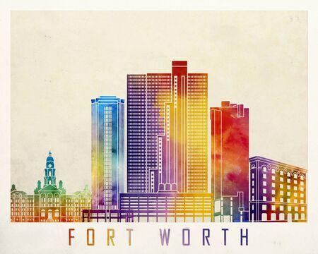 Fort Worth landmarks watercolor poster