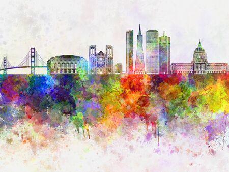 水彩画背景で、サンフランシスコのスカイライン 写真素材