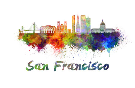 San Francisco skyline in watercolor splatters with clipping path 写真素材