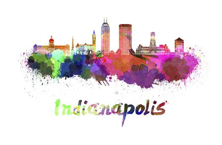 indianapolis: Indianapolis skyline in watercolor splatters