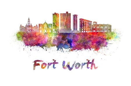 Fort Worth skyline in watercolor splatters
