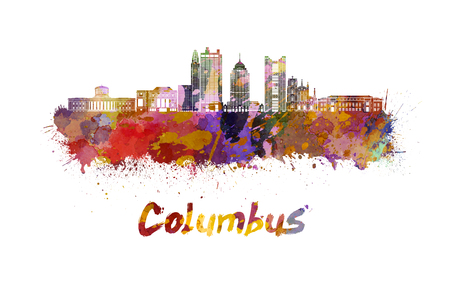 Columbus skyline in watercolor splatters Stock Photo