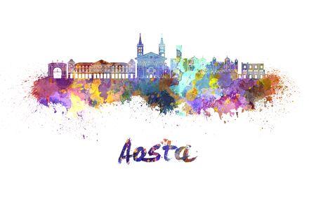 aosta: Aosta skyline in watercolor splatters