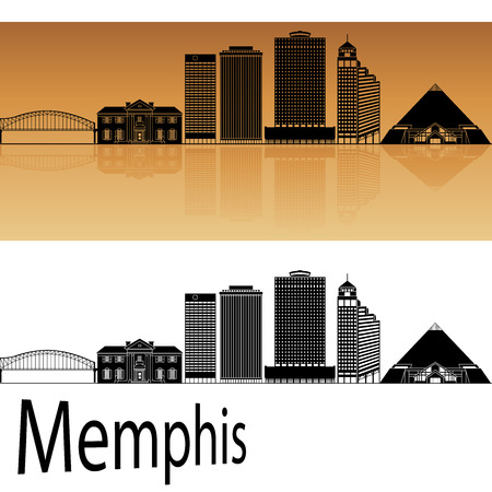 memphis: Memphis skyline in orange background in editable vector file Illustration