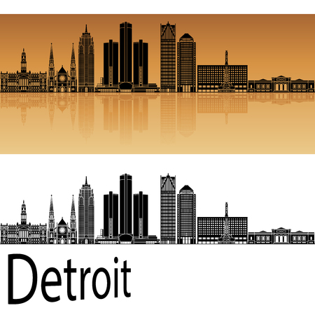 the white house: Detroit skyline in orange background in editable vector file