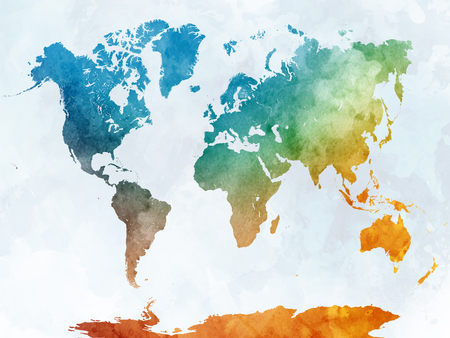 World map in watercolor painting abstract splatters 版權商用圖片 - 61654037