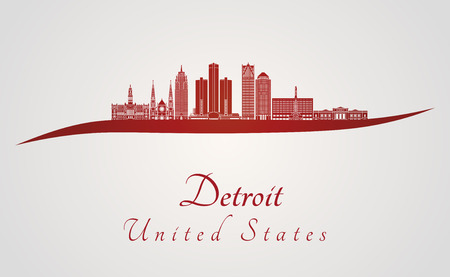 Detroit skyline in red and gray background in editable vector file