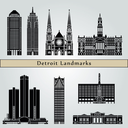 detroit: Detroit landmarks and monuments isolated on blue background in editable vector file Illustration