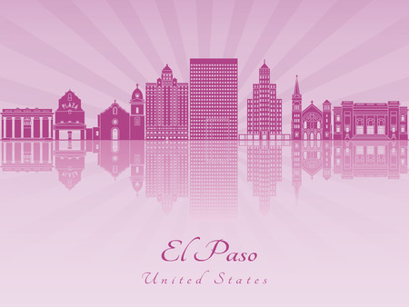 horizons: El Paso skyline in purple radiant orchid in editable vector file