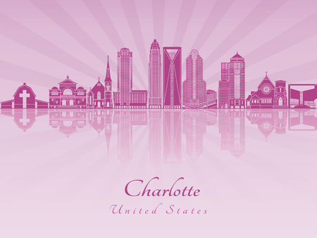 charlotte: Charlotte skyline in purple radiant orchid in editable vector file Illustration