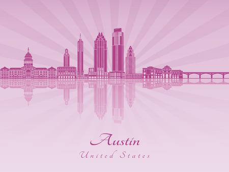 radiant: Austin skyline in purple radiant orchid in editable vector file Illustration
