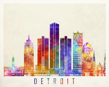 detroit: Detroit landmarks watercolor poster Stock Photo