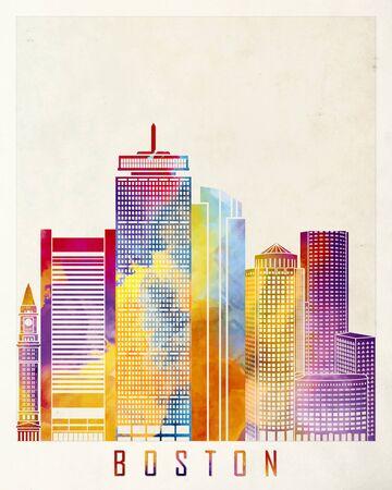 boston skyline: Boston landmarks watercolor poster