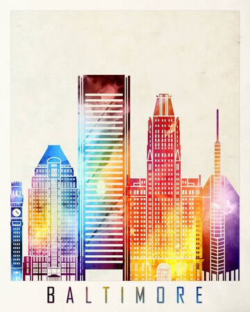 baltimore: Baltimore landmarks watercolor poster