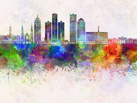 detroit: Detroit skyline in watercolor background Stock Photo