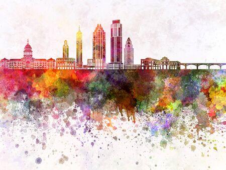 austin: Austin skyline in watercolor background