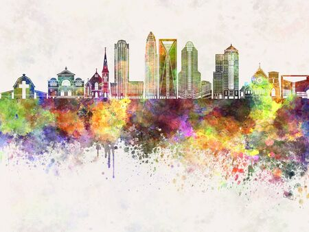 charlotte: Charlotte skyline in watercolor background