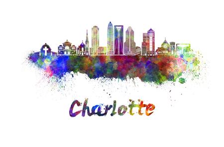 charlotte: Charlotte skyline in watercolor splatters Stock Photo