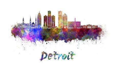 detroit: Detroit skyline in watercolor splatters