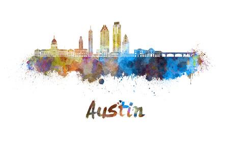 Austin skyline in watercolor splatters