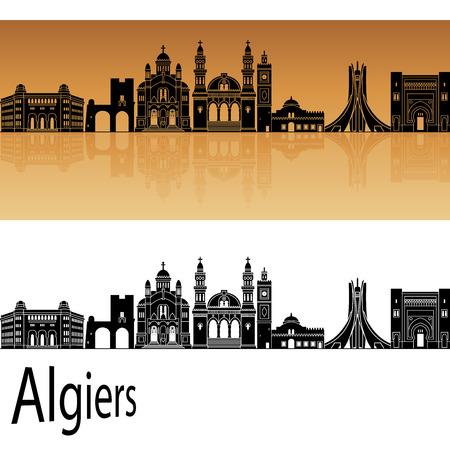 algiers: Algiers skyline in orange background in editable vector file