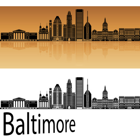 baltimore: Baltimore skyline in orange background in editable vector fileColumbus skyline in orange background in editable vector file