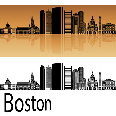 horizon: Boston skyline in orange background in editable vector file