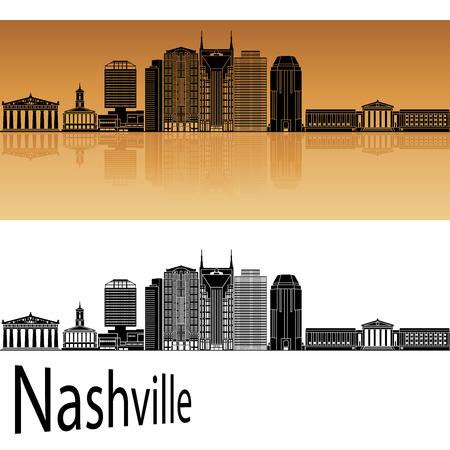 nashville: Nashville skyline in orange background in editable vector file Illustration