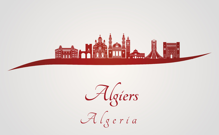 algiers: Algiers skyline in red and gray background in editable vector file