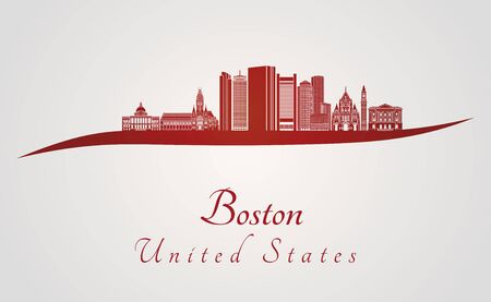 urban landscapes: Boston skyline in red and gray background in editable vector file