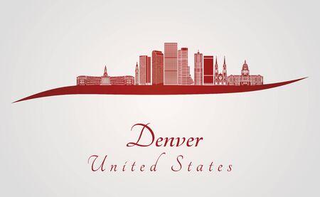 denver colorado: Denver skyline in red and gray background in editable vector file Illustration