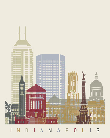 indianapolis: Indianapolis skyline poster Illustration