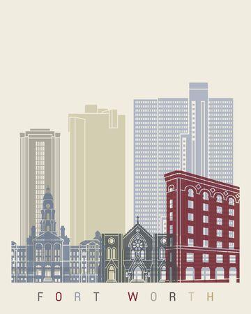 fort worth: Fort Worth skyline poster Illustration
