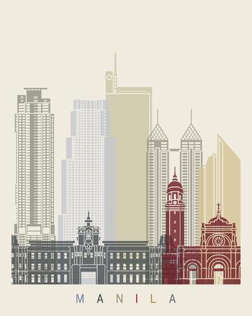 manila: Manila skyline poster Illustration