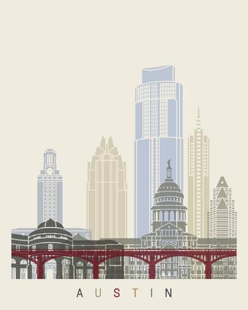 Austin skyline poster Illusztráció
