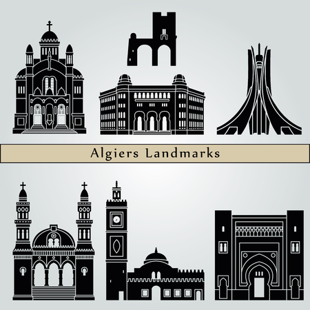 algiers: Algiers landmarks and monuments isolated on blue background in editable vector file