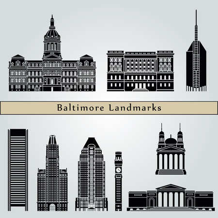 baltimore: Baltimore landmarks and monuments isolated on blue background in editable vector file