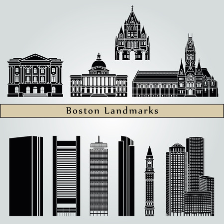 boston skyline: Boston landmarks and monuments isolated on blue background in editable vector file