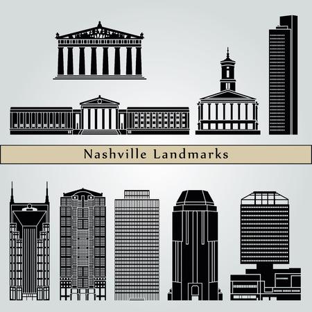nashville: Nashville landmarks and monuments isolated on blue background in editable vector file