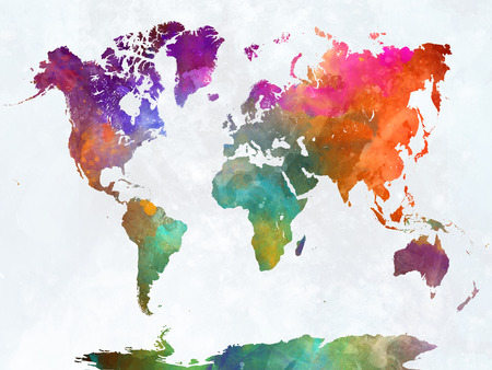 World map in watercolor painting abstract splatters 版權商用圖片 - 61654179