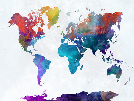 World map in watercolor painting abstract splatters 版權商用圖片 - 61654175