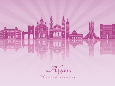 algiers: Algiers skyline in purple radiant orchid in editable vector file