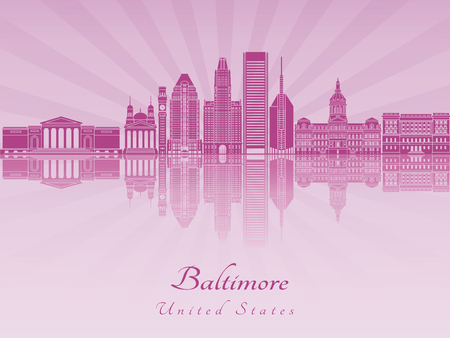 radiant: Baltimore skyline in purple radiant orchid in editable vector file Illustration
