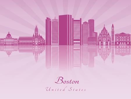 보라색 빛나는 난초에 보스턴 스카이 라인 일러스트
