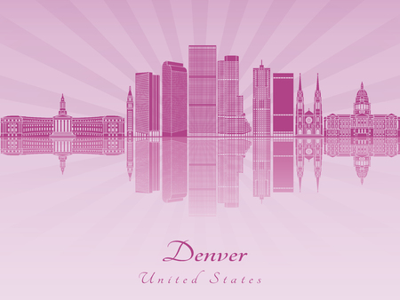 Dever skyline in purple radiant orchid in editable vector file